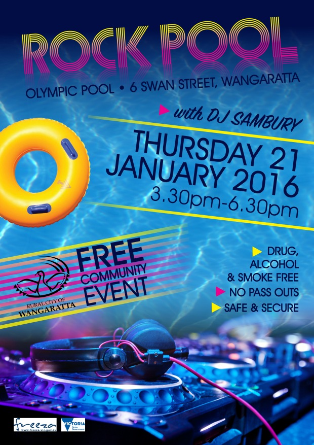 """Event Poster Design for """"Rock Pool"""" Pool Party."""